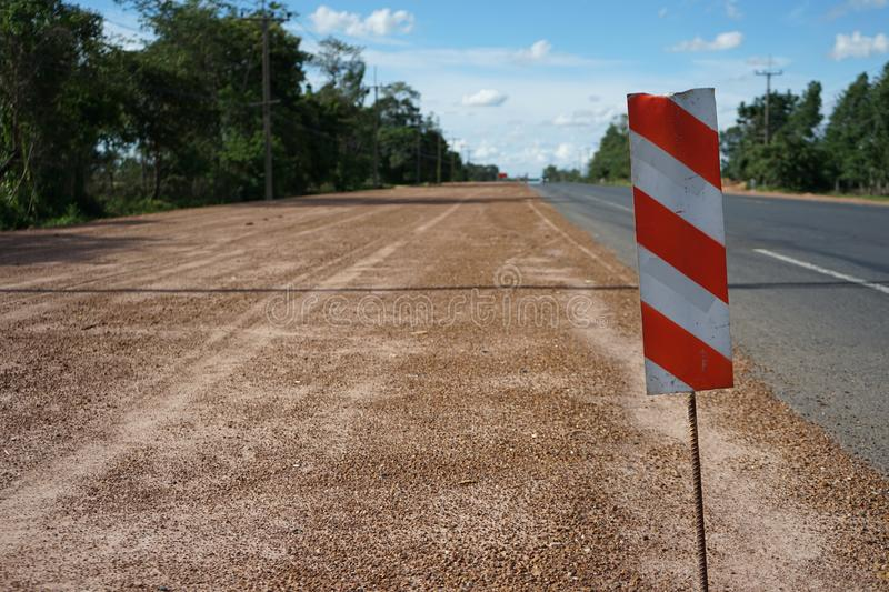 Signs to prevent road construction hazards. In Thailand stock photo