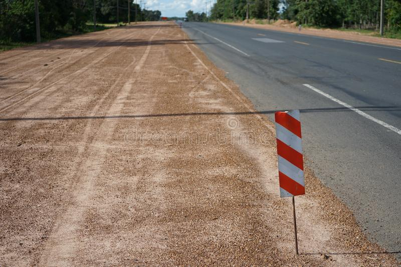 Signs to prevent road construction hazards. In Thailand stock photography