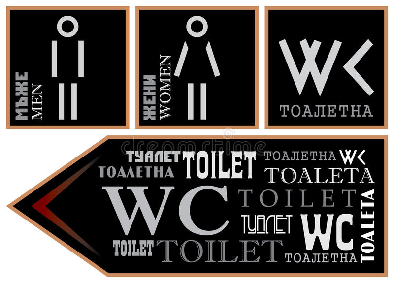 Signs for toilet different languages and fonts. WC - Signs for toilet different languages and fonts stock illustration