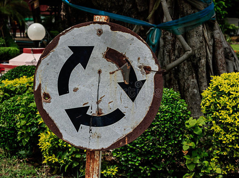 Signs Traffic Circle. On parks royalty free stock photos