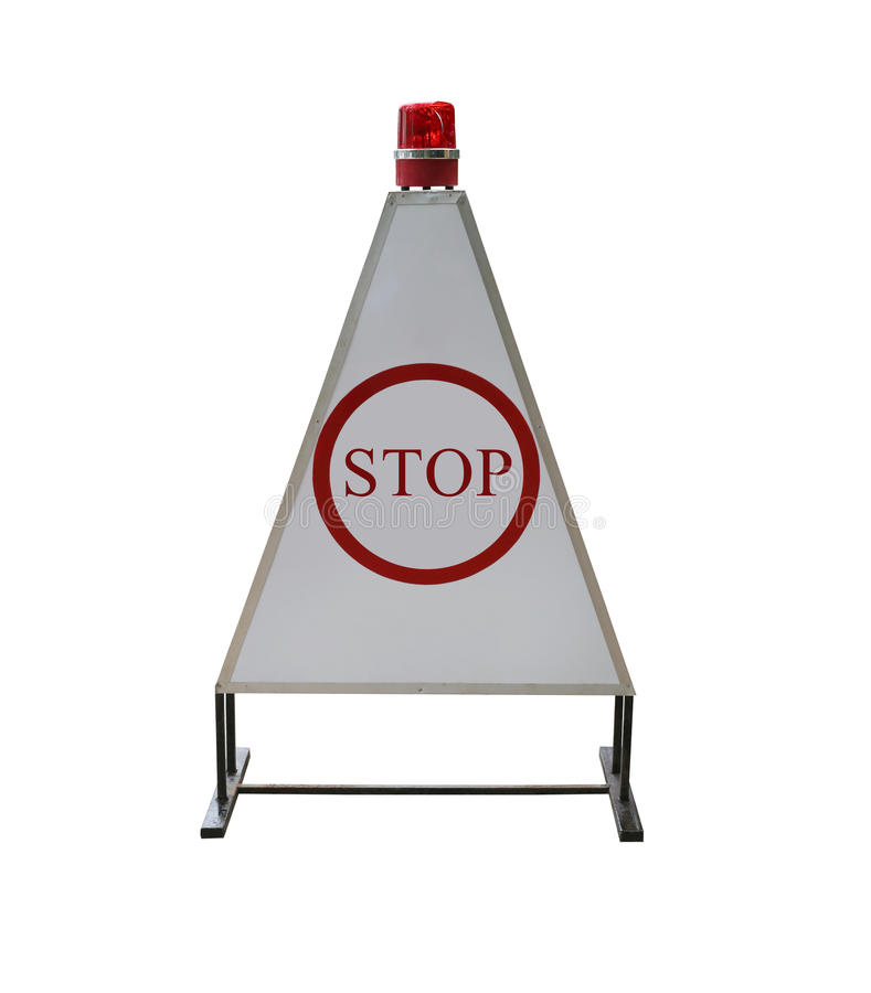 Signs traffic of the stop to check isolated on white background. Signs traffic of the stop to check isolated on white background and have clipping paths to easy royalty free stock photography