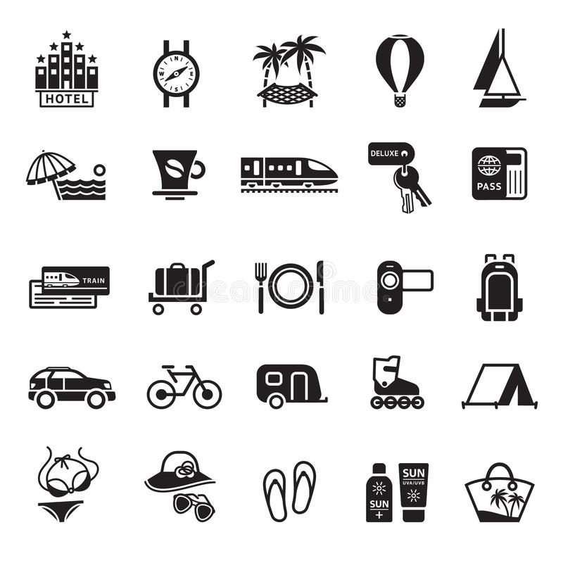 Signs. Vacation, Travel & Recreation. Second set icons in black royalty free illustration