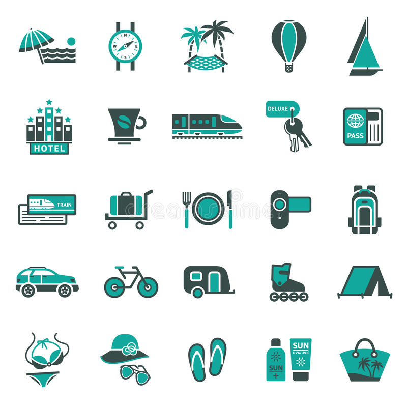 Signs. Vacation, Travel & Recreation. Second. Set icons vector illustration