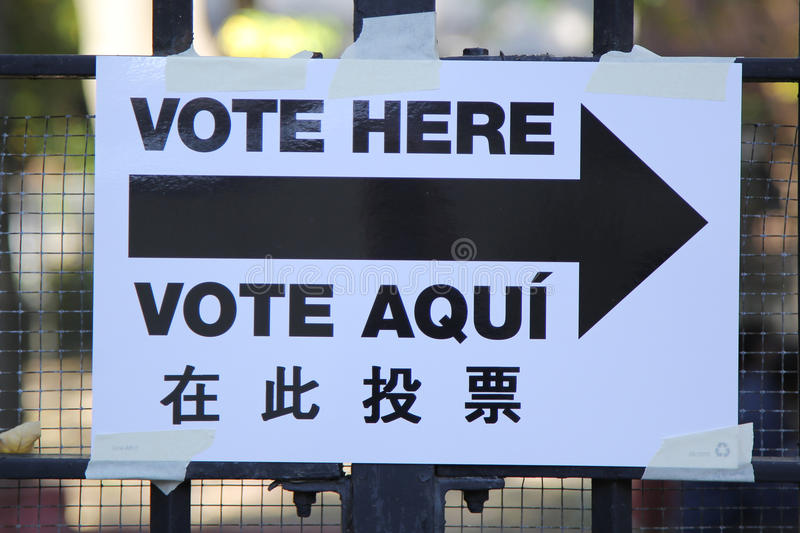 Signs at the voting site in New York. royalty free stock photography