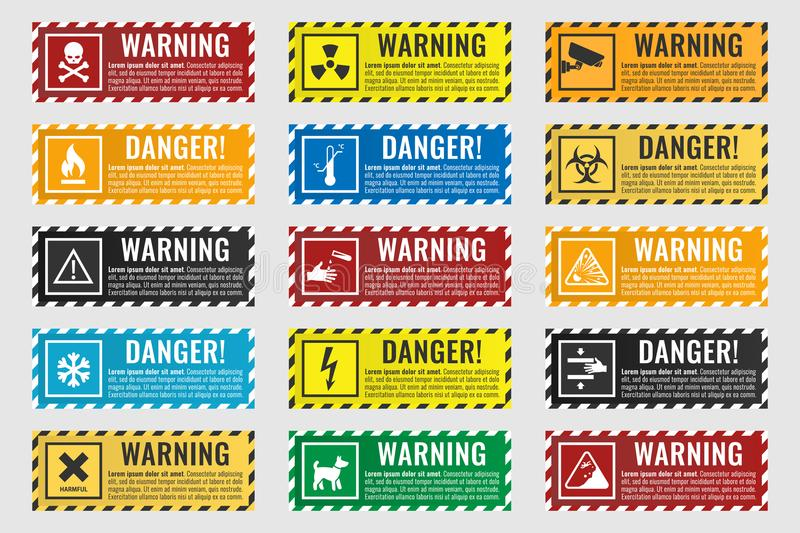 Signs warning of the danger - fire, high voltage, toxic, temperature royalty free illustration