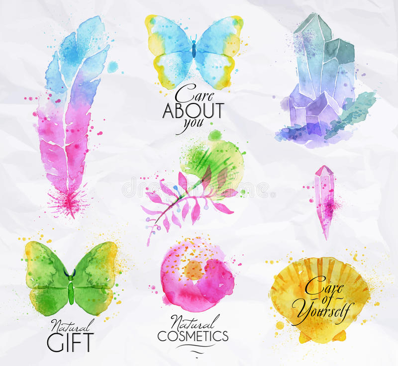 Signs watercolor nature vector illustration