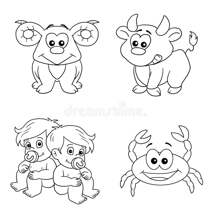 The signs of the zodiac 1, BW stock photography