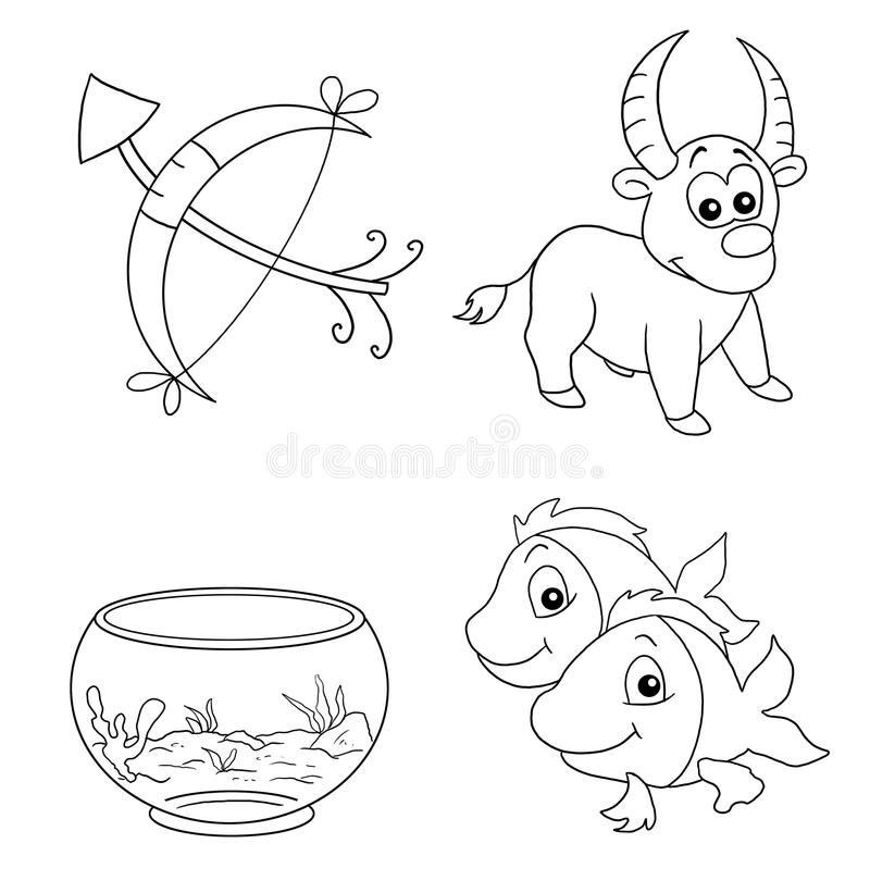 The signs of the zodiac 3, BW royalty free stock photos