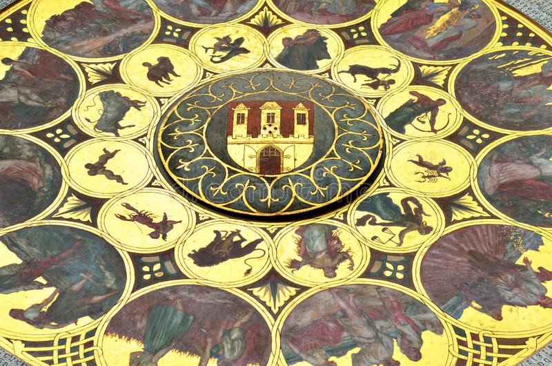 Zodiac details. The twelve signs of the zodiac in gold under the famous medieval astronomical clock details in Prague, Czech Republic royalty free stock photo