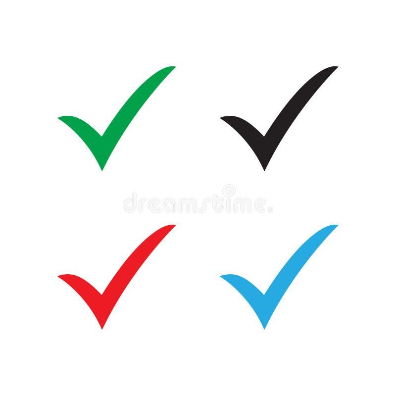 SignSet isolado ilustração do vetor do ícone do limão do ícone colorido da marca de verificação Símbolo do tiquetaque, ilustração ilustração do vetor