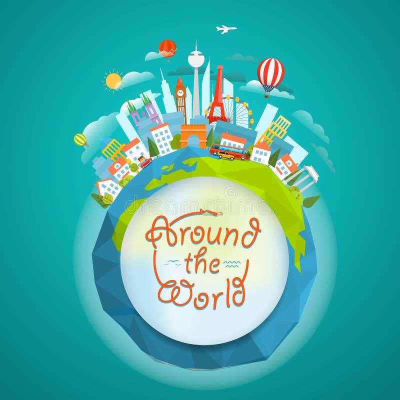 Signts célèbres autour du monde concept de course illustration stock