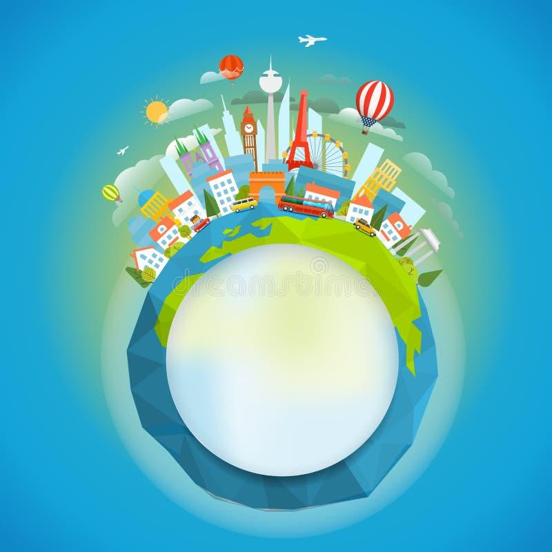 Signts célèbres autour du monde Illustrati de vecteur de concept de voyage illustration libre de droits