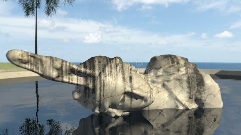 Sigue habiendo la escultura antigua un viejo en el agua fotos de archivo