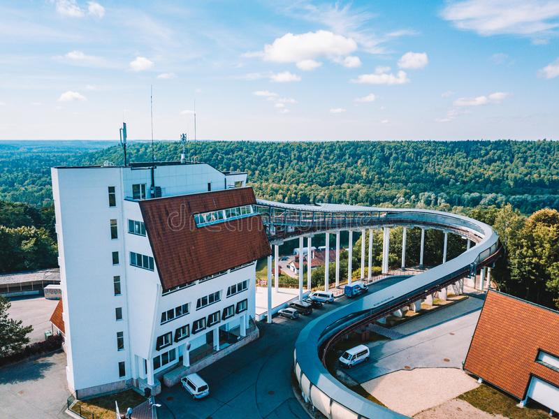 The Aerial view on the Sigulda bobsleigh, luge, and skeleton track royalty free stock images