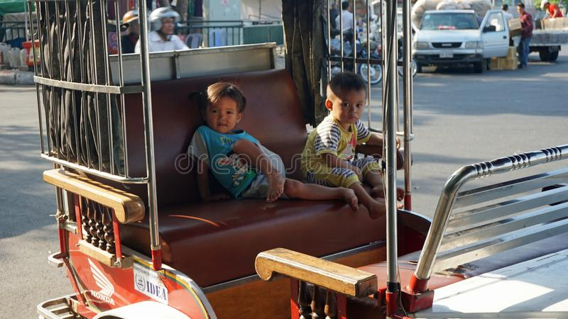 Sihanoukville, Cambodia - March 2018: Cambodian people in their traditional life. Sihanoukville, Cambodia - March 2018: Cambodian people in traditional life royalty free stock image