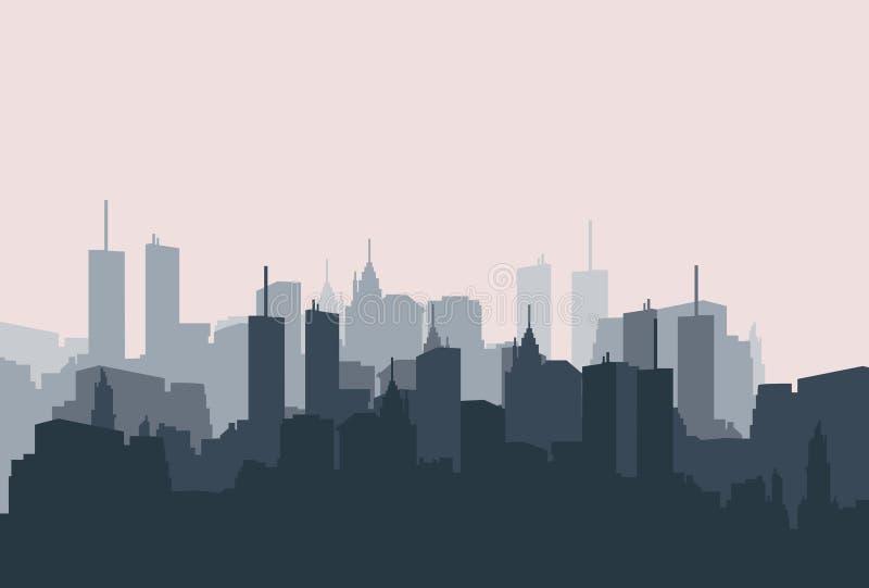 Sihouette da paisagem da cidade Fundo isolado cidade de construção Vetor ilustração stock