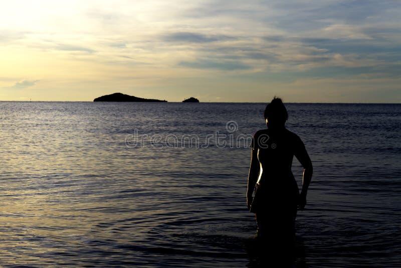 Sihouette de voyageur photo stock