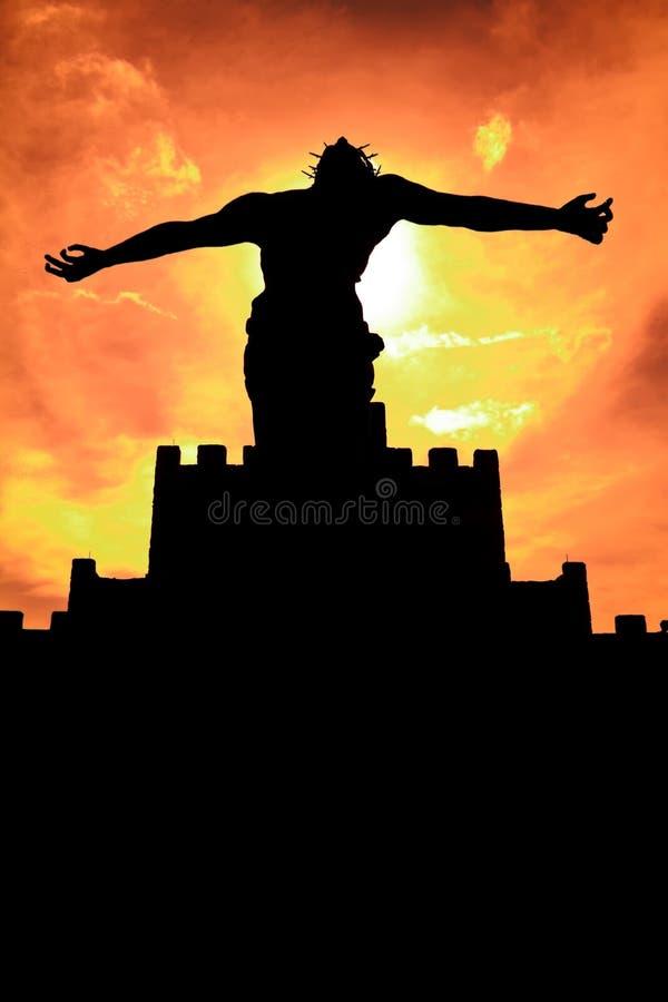Sihouette della statua di Gesù Cristo fotografie stock libere da diritti