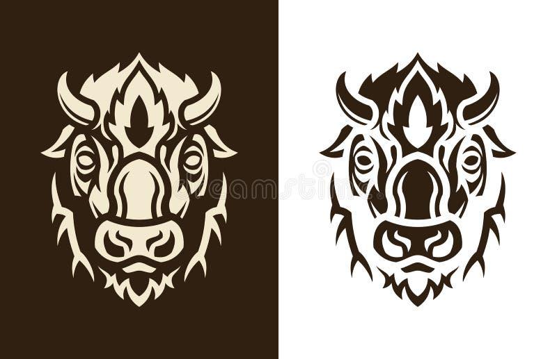 Sihouette principal de Buffalo illustration stock