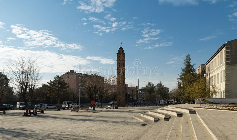 Siirt city view of the city square. Panoramic view of the city square of Siirt - Turkey stock photography
