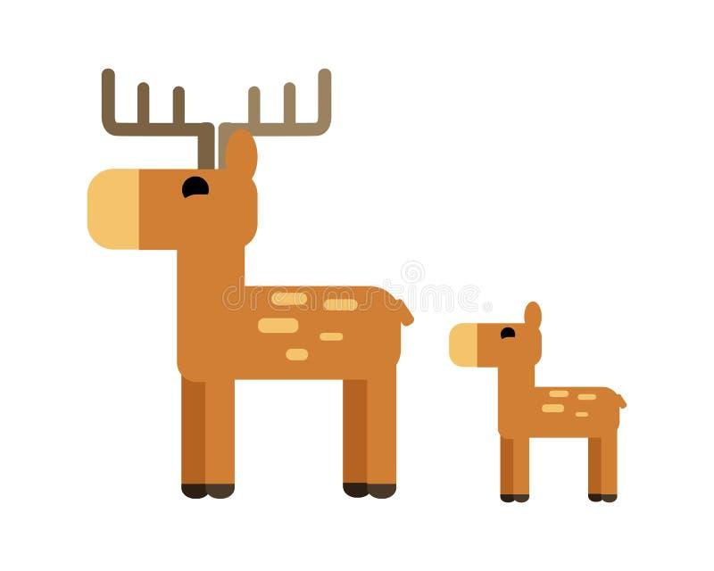 Sika鹿在平的设计的传染媒介例证 库存例证