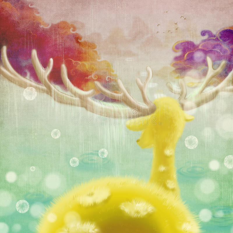 The Sika Deer's World. The Creature is Recognising the Path. Raining. royalty free illustration