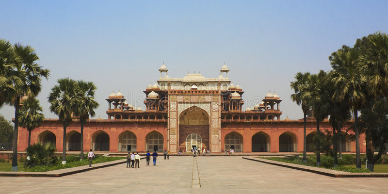 Sikandra, Tomb of Akbar (the great Mughal emperor). Sikandra, Tomb of Akbar (Mughal emperor) near Agra, India royalty free stock photo