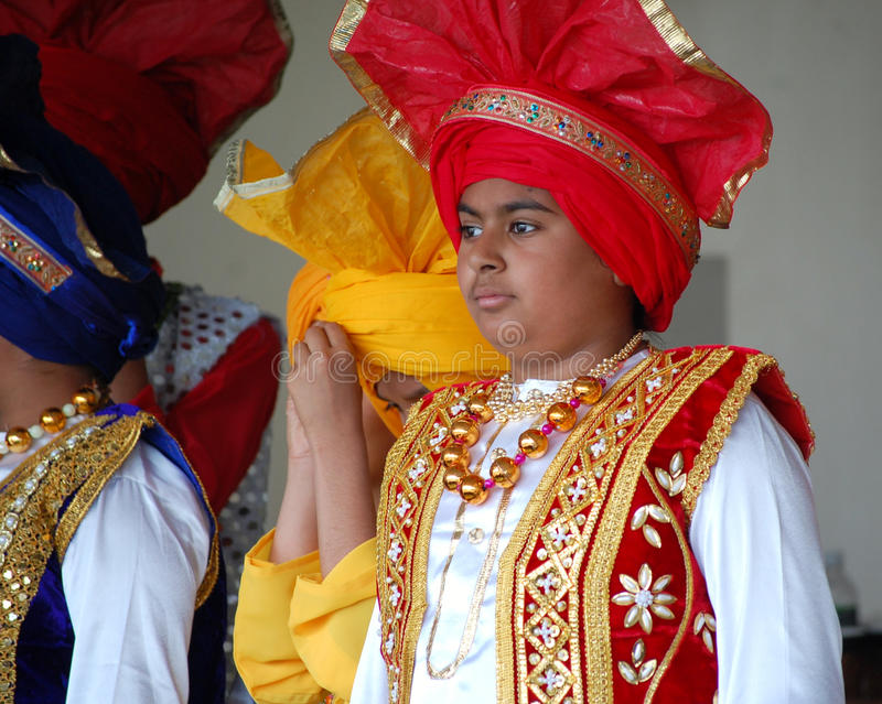 Sikh Boys in Traditional Costumes