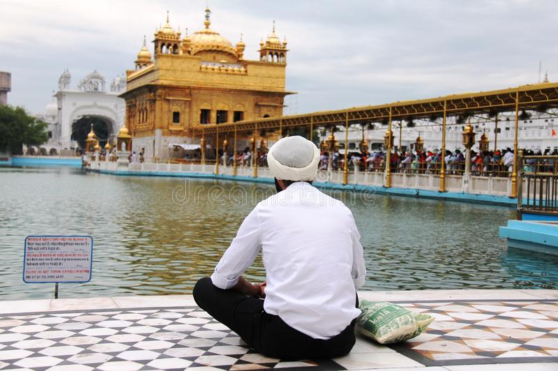 A Sikh guy praying in front of golden temple