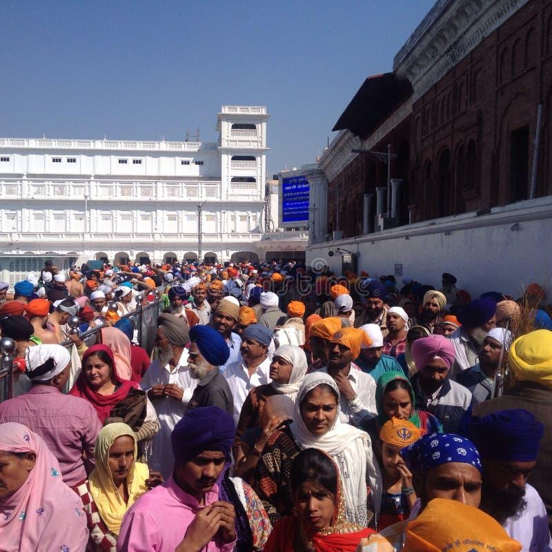 Sikh vallfärdar i den guld- templet, amritsar, Indien royaltyfria foton