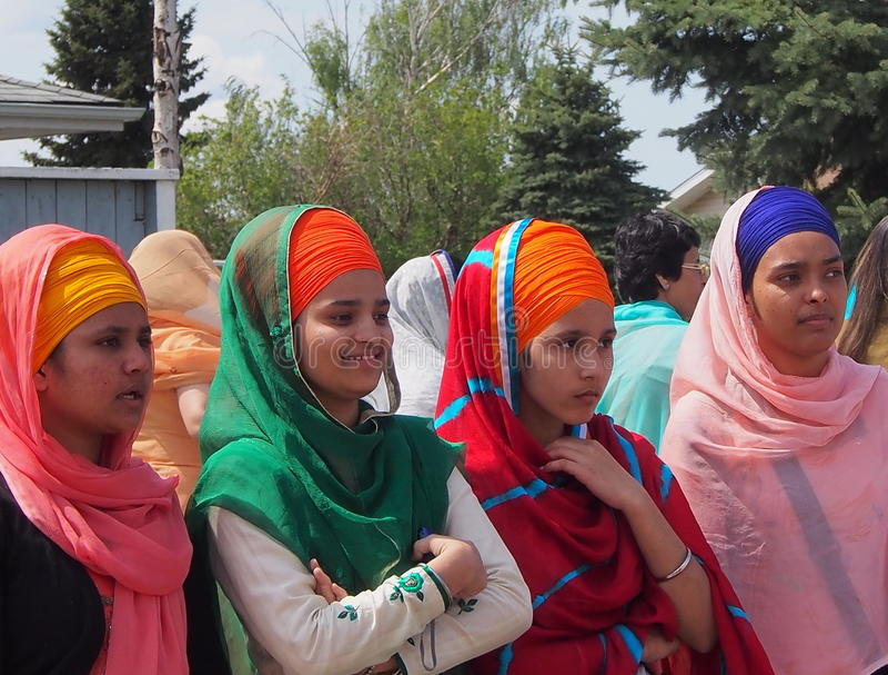 Sikhfrauen an Vaisakhi-Feier lizenzfreies stockfoto