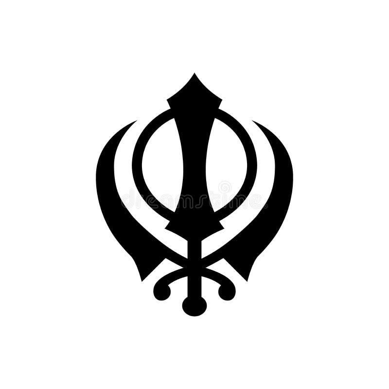 Sikhism Khanda religijnego symbolu prosta ikona royalty ilustracja
