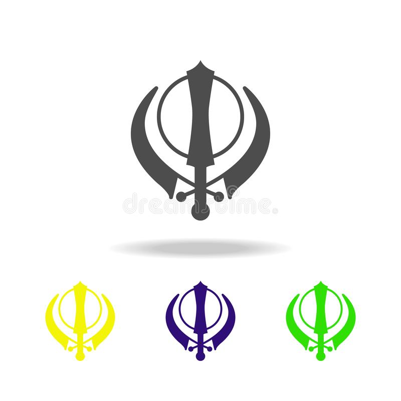Sikhism Khanda szyldowa stubarwna ikona Szczegółowa Sikhism Khanda ikona może używać dla sieci, logo, mobilny app, UI, UX royalty ilustracja