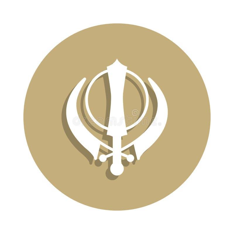 Sikhism Khanda znaka ikona w odznaka stylu Jeden religia symbolu inkasowa ikona może używać dla UI, UX ilustracji