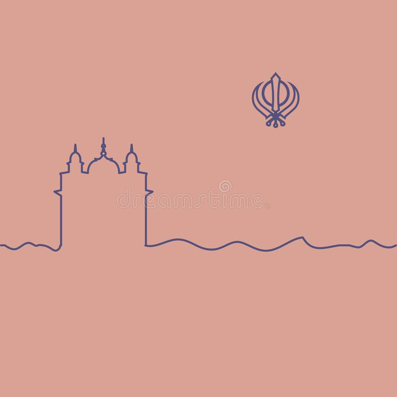Sikhism symbol i świątynia royalty ilustracja