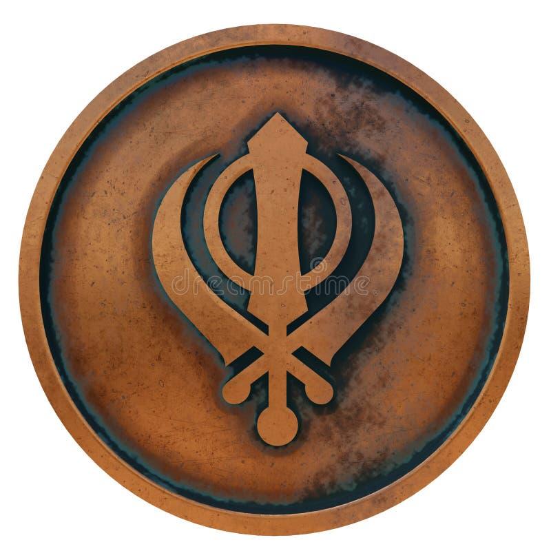 Sikhismsymbool op het muntstuk van het kopermetaal stock afbeeldingen