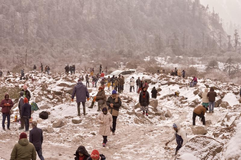 Sikkim Zero Point West Bengal November 2018 - Tourist People head outdoor play and enjoy first snow after a snowfall brings royalty free stock photos