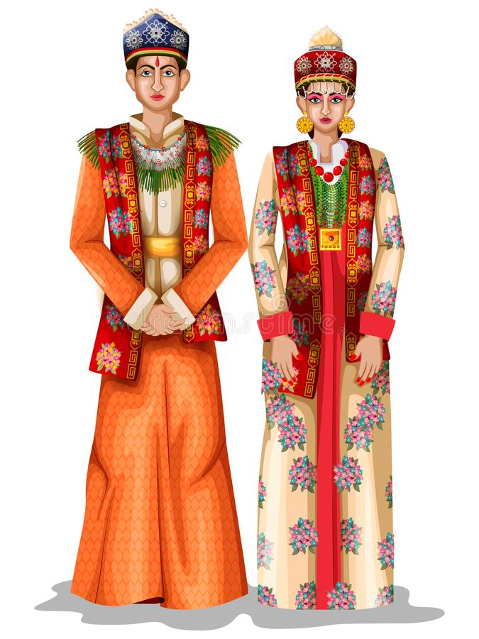 Sikkimese在锡金,印度的传统服装的婚礼夫妇 皇族释放例证