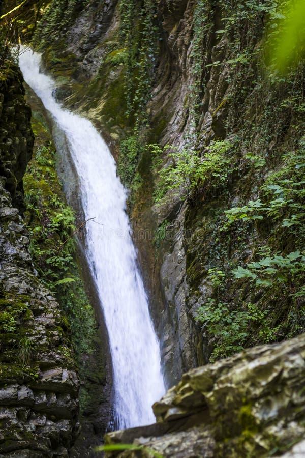 Siklawa cud piękno w Kaukaz górach fotografia stock