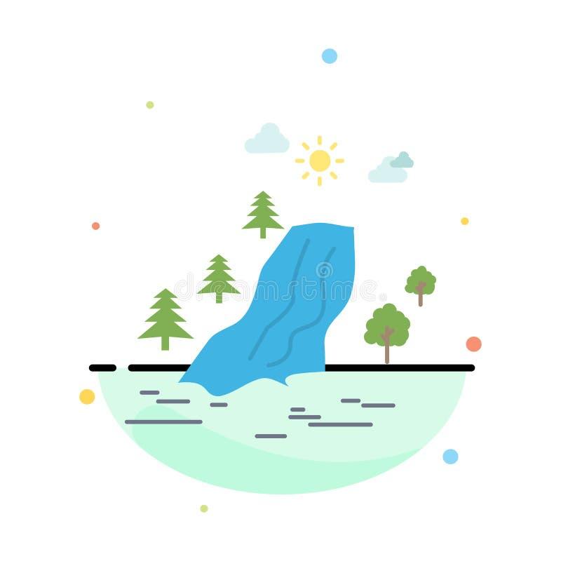siklawa, drzewo, ból, chmury, natura koloru ikony Płaski wektor ilustracji