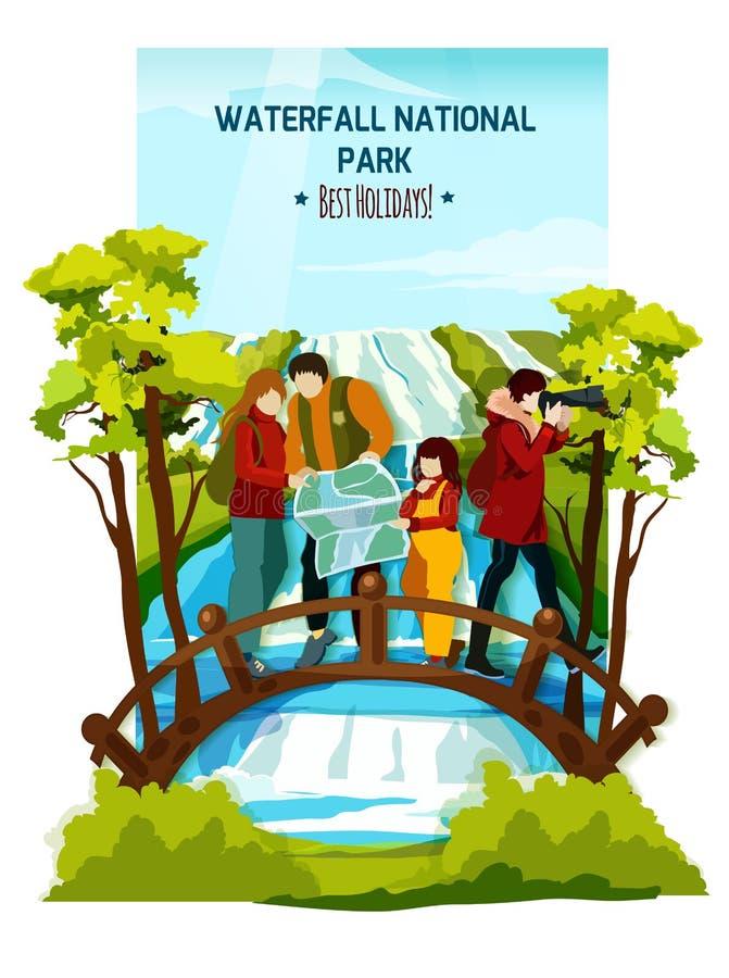 Siklawa Krajobrazowy plakat ilustracji