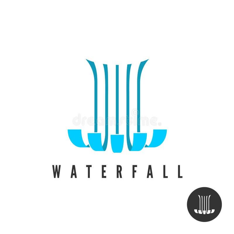 Siklawa logo Równoległych linii wloods wodny spadać royalty ilustracja