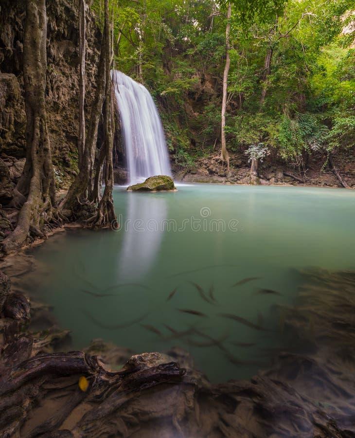 Siklawa przy Erawan parkiem narodowym, Kanchanaburi, Tajlandia zdjęcie royalty free