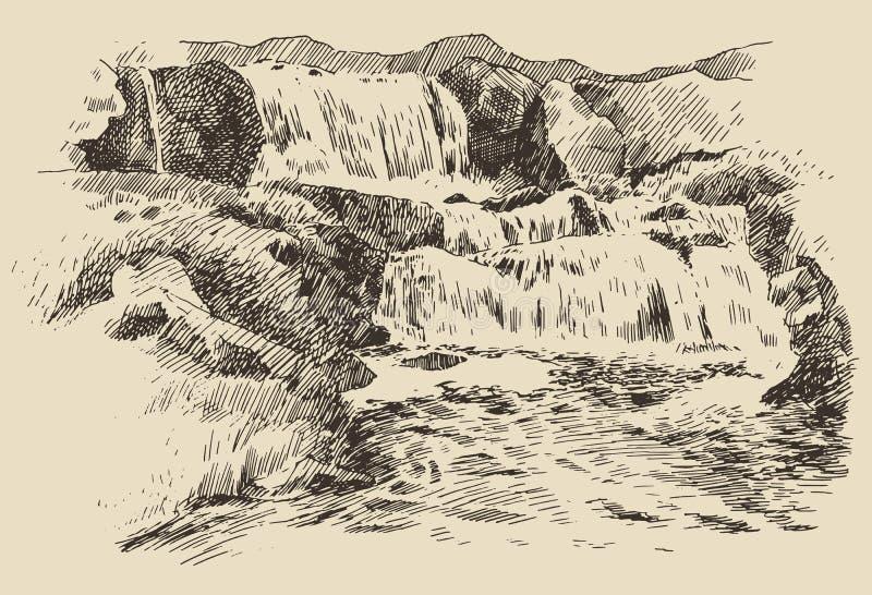 Siklawa rocznika rytownictwa krajobrazowa ilustracja ilustracji