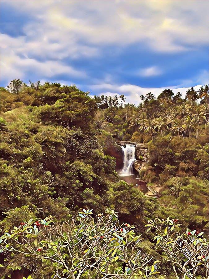 Siklawa w dżungli cyfrowej ilustraci Chmurnego nieba dzień w tropikalnej wyspie Rocznik siklawy karta obraz stock