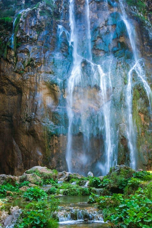 Siklawa w Plitvice jeziorach parki narodowi, Chorwacja fotografia stock
