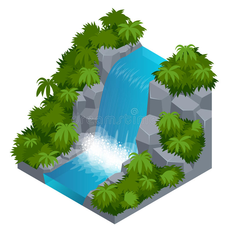 Siklawa w tropikalnej lasowej budowie twój swój infographics kolekcja Wektorowa isometric ilustracja ilustracji
