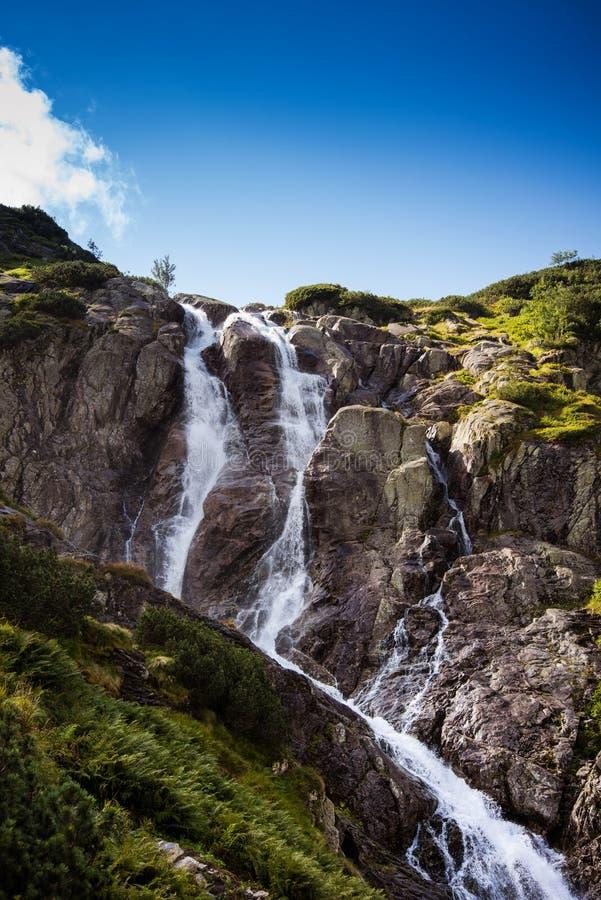 Siklawa waterfall near Zakopane in Tatra Mountains - sunny autumn day stock image