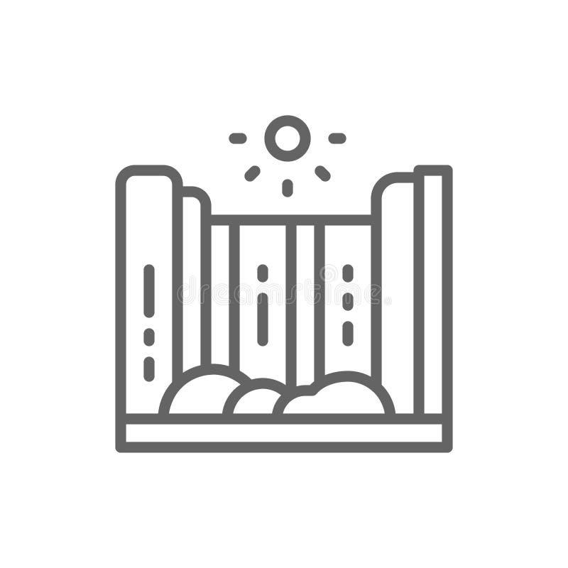 Siklawy i g?ry krajobrazu linii ikona ilustracja wektor
