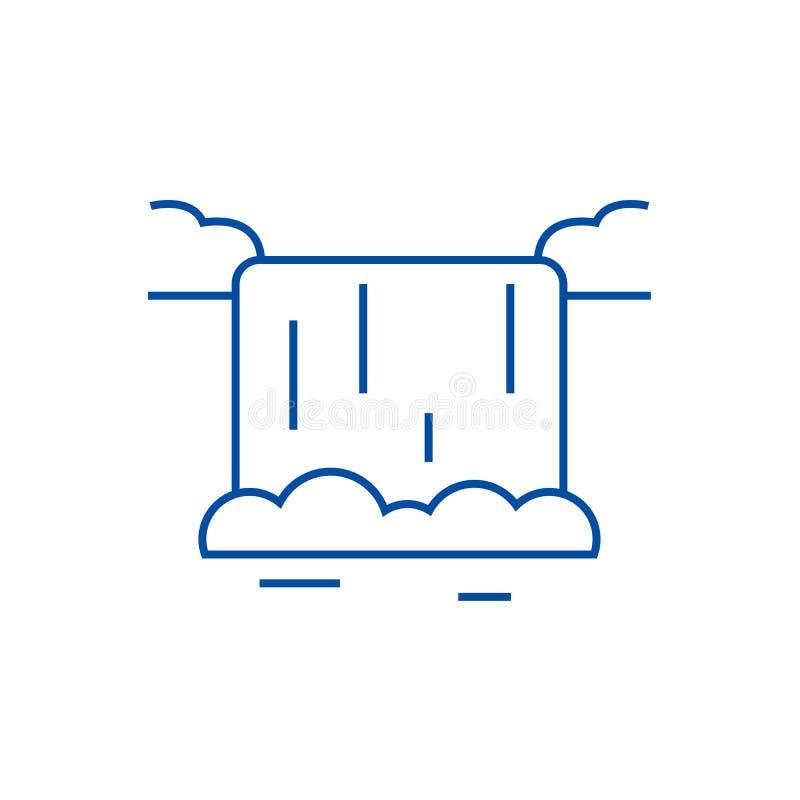 Siklawy ikony kreskowy pojęcie Siklawa płaski wektorowy symbol, znak, kontur ilustracja ilustracji